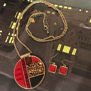 Jewelry - Necklace and earring set red black leopard print